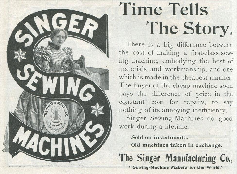 إعلان ماكينات سينجر عام 1900