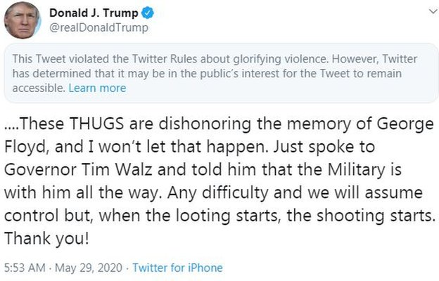تغريدة ترامب مرفقة بإشعار تويتر