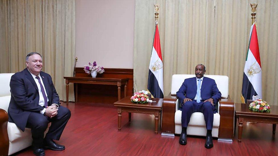 وزير الخارجية الأمريكي ورئيس المجلس السيادي السوداني