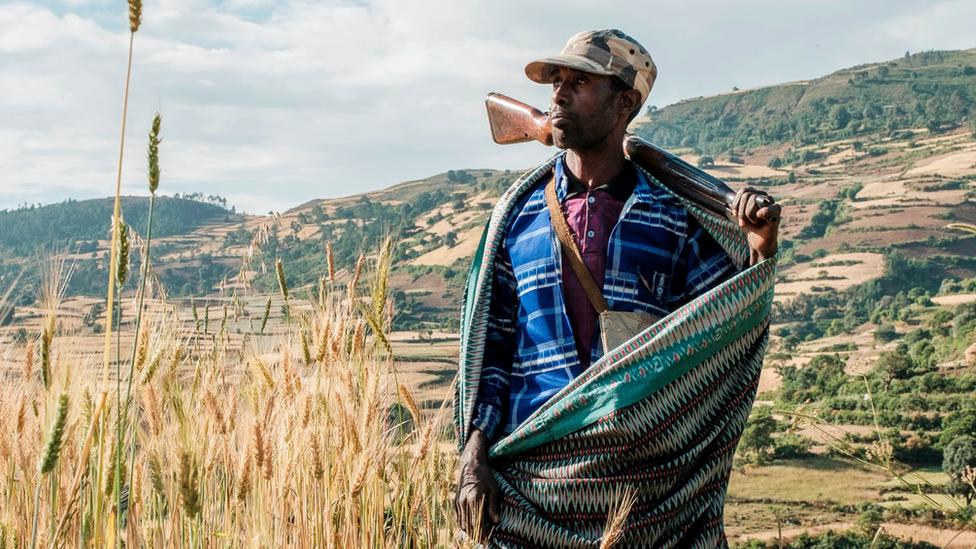 مزارع ومقاتل ميليشيا في شمال غرب جوندر ، إثيوبيا.