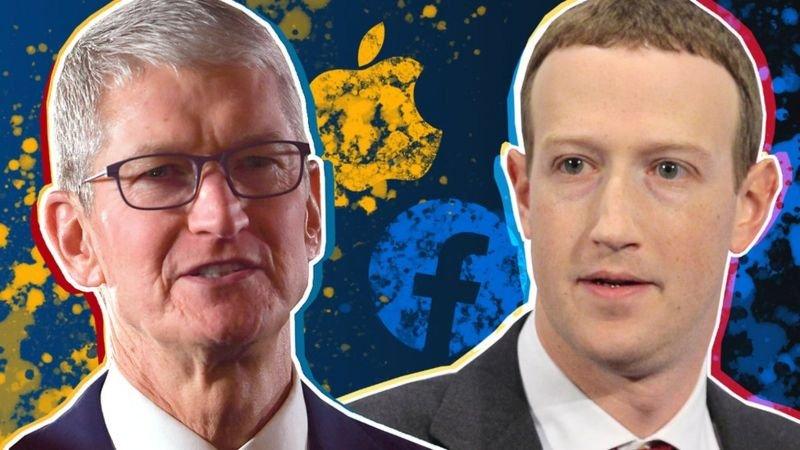 رئيس آبل (يسار) تيم كوك ورئيس فيسبوك مارك زوكربيرغ