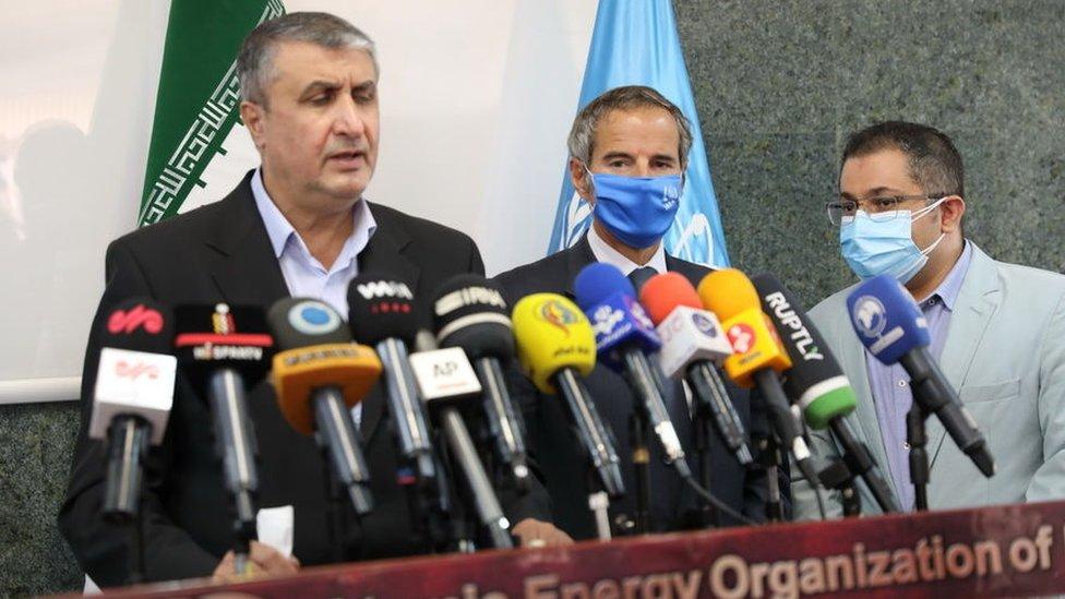 مدير عام الوكالة الدولية للطاقة الذرية، رافاييل غروسي ونائب الرئيس ورئيس منظمة الطاقة الذرية الإيرانية محمد سلامي