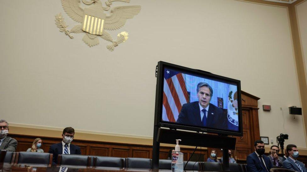 أنتوني بلينكن خلال استجوابه أمام الكونغرس بشأن الانسحاب من أفغانستان